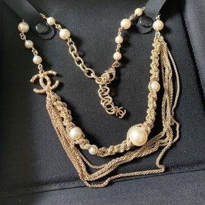 Authentic Chanel CC Logo Pearl Necklace, Invoice
